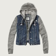 Abercrombie & Fitch Denim Hoodie Jacket ($98) ❤ liked on Polyvore featuring outerwear, jackets, denim, zipper jacket, button jacket, zip jacket, zippered denim jacket and zip denim jacket