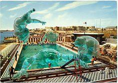 Water Wonderful World (Invading The Vintage - Franco Brambilla) Tags: art water monster illustration vintage seaside swimmingpool vintagepostcard blob