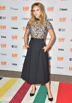 Fashionable lady: Suki Waterhouse stepped out in style in Canada for The Bad Batch premiere during the 2016 Toronto International Film Festival on Tuesday