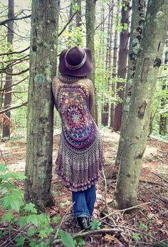 Ravelry: Lotus Mandala Duster pattern by Regina Weiss Boho Crochet Patterns, Crochet Vest Pattern, Crochet Coat, Free Pattern, Knitting Patterns, Pattern Design, Shawl Patterns, Cardigan Pattern, Tunisian Crochet