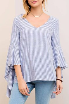 Striped plunging neck top featuring back strappy detail. Cascade sleeves. Non-sheer. Woven. Lightweight.   Striped Bell Sleeve by Entro. Clothing - Tops - Long Sleeve Philadelphia, Pennsylvania