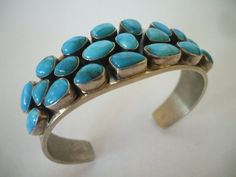 Retired DTR Jay King Mine Finds, Heavy Sterling Silver & TURQUOISE Cuff BRACELET.  TurquoiseKachina, $233.10
