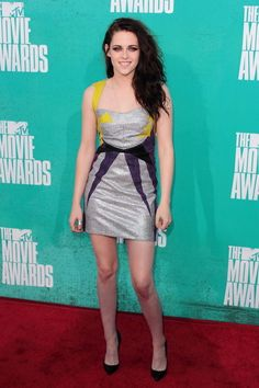 Always a fashion surprise - Kristen Steward working a colourful mini dress by Guishem at the 2012 MTV movie awards.