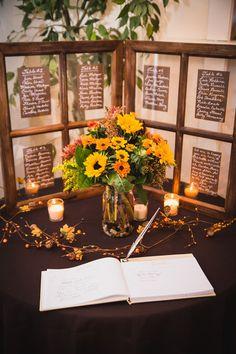 Fall wedding reception decor idea - dark linens, fall-color flower arrangements with sunflowers, votives {Serena Star Wedding & Boudoir Photography}