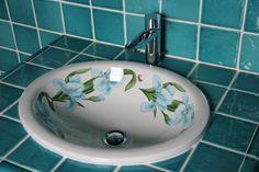 Sanitaire-décoré-vasque-évier-cuisine-salle-de-bains-douche-lavabos-artisanat-de-salernes - CARRELAGES BOUTAL