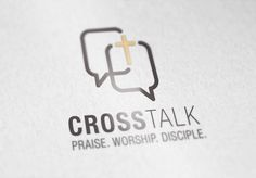 Cross Talk logo also using forged connections and dialogue boxes. An option for branding the mood app Church Graphic Design, Church Design, Graphic Design Print, Church App, Church Logo, Alliance Logo, Film Logo, Communication Logo, Marketing Logo