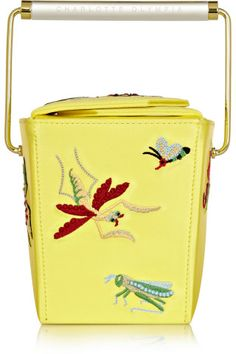 Charlotte Olympia|Take Me Away embroidered satin-crepe clutch|NET-A-PORTER.COM