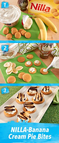 It takes only 5 minutes and NO COOKING for this great mix of refreshing flavors to come together and make these tasty, bite-sized treats. NILLA-Banana Cream Pie Bites taste just as amazing as they look. Just Desserts, Delicious Desserts, Yummy Food, Yummy Treats, Sweet Treats, Snack Recipes, Dessert Recipes, Smoothies, Chips