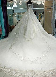 Luxury Chapel Train Straps Beading Ball Gown Wedding Dress 10944140 - Wedding Dresses 2014 - Dresswe.Com