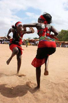Women practicing tribal dance in Gambia
