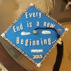 Graduation cap. Every end is a new beginning. You need silver letter glitter stickers, blue glitter scrap book paper, zebra ribbon, star stickers, 2015 sticker, dream, believe, live laugh love stickers, hot glue gone go put it all on the cap