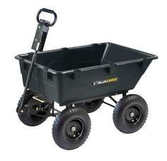 Gorilla Carts GOR866D Heavy Duty Garden Poly Dump Cart With 2 In 1  Convertible Handle, 1,200 Pound Capacity, 40 Inch By 25 Inch Bed, Black  Finish