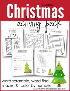 Christmas Activity Pack - FREE Printable set with puzzles, mazes, word find and Christmas Printable Activities, Christmas Worksheets, Christmas Activities For Kids, Preschool Activities, Christmas Puzzle, Christmas Words, Kids Christmas, Christmas Games, Christmas Outfits