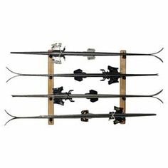 Pine Wood Ski Rack With Closed Cell Foam Padding And Wall Mounting  Hardware. Holds 4