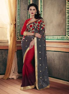 Gray Georgette Embroidery Work Saree 80960