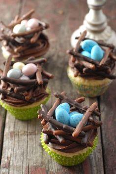 Blue eggs Chocolate Bird's Nest cupcakes | BoulderLocavore.com