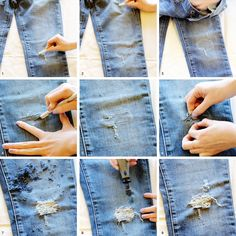 DIY distressed jeans  - faded, distressed, destroyed, frayed, worn, exposed threads, damaged, denim.