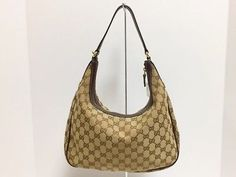 2839e3bfe9d Auth GUCCI GG 153010 Brown Beige DarkBrown Jacquard   Leather Shoulder Bag  (eBay Link)