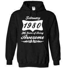 February 1980 - #gift for girlfriend #shower gift. PURCHASE NOW => https://www.sunfrog.com/No-Category/February-1980-7529-Black-Hoodie.html?68278