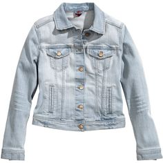 H&M Denim jacket ($18) ❤ liked on Polyvore featuring outerwear, jackets, h&m, denim, denim jacket, light denim blue, flap jacket, blue jean jacket, h&m jackets und button jacket