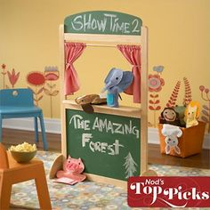 Kids' Imaginary Play: Wooden Puppet Theater in All Toys Puppet Show Stage, Puppet Show For Kids, Wooden Puppet, Holidays With Kids, Hula, Diy Toys, Crate And Barrel, Puppets, Kids Playing