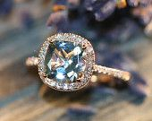 Halo Diamond Aquamarine Engagement Ring in 14k Rose Gold Pave Diamond Wedding Band 8x8mm Cushion Cut Aqua Gem Ring (Wedding Set Available)
