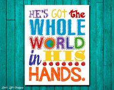 He's got the whole world in His hands. Christian Wall Art by LittleLifeDesigns Sunday School Rooms, Sunday School Classroom, Bible Quotes About Children, Sunday School Decorations, Christian Wall Decor, Church Nursery, Kids Room Wall Art, Childrens Room Decor, Kids Church
