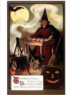 .Halloween witch fortune teller playing card