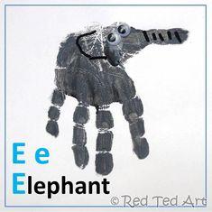 Handprint Alphabet – E is for Elephant. has handprint ideas for letters of alphabet Abc Crafts, Daycare Crafts, Crafts For Boys, Animal Crafts, Toddler Crafts, Art For Kids, Alphabet Crafts, Alphabet Book, Preschool Alphabet