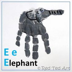 "Handprint Alphabet – E is for Elephant... i dont like using Elephant for E because the first sound in ""elephant"" can sound like ""L"", but this is cute"