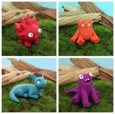 Some of the many beastlies, Polymer Clay Monsters, by Leslie Levings @ www.beastlies.com