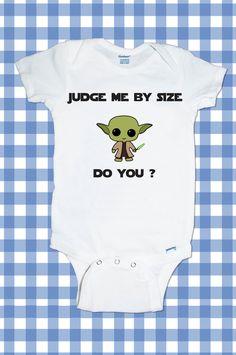 Adorable Star Wars Darth Vader Stormtrooper Yoda Jedi R2R2 One-Piece Newborn Funny Custom T-Shirt Baby Boy Bodysuit onesie Creeper Romper. $11.99, via Etsy.