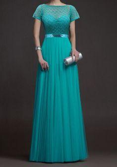 Lace Spliced Chiffon Elegant Style Round Neck Short Sleeve Maxi Dress For Women
