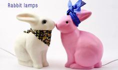 Kissing Rabbit Lamps on babble #bunnyinabow