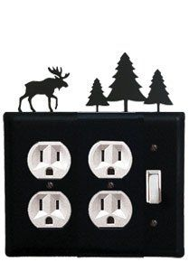 Moose & Pine Trees - Double Outlet and Single Switch Cover by Village Wrought Iron. $17.12. Moose & Pine Trees - Double Outlet and Single Switch CoverApprox. 6 1/2 In. W x 8 In. H Please allow 4 to 6 weeks for delivery.