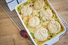 Chicken Pot Pie and Chive Biscuits #dinner