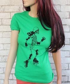 Skeleton Derby Girl Cotton Crewneck Tshirt by CausticThreads