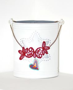 Inima Dantelata - This necklace has: a handcrafted heart pendant, out of polymer clay, using the applique technique - divided in two parts: a darker one and a lighter one: orange - peach, ultramarine - agathe blue, red - quartz pink and turquoise - sky blue; a textile burgundy lace element and a cooper metal chain. Romantic with a twist! Click image to find more cool handmade jewelry by me! #handmade #necklace #polymer #clay #applique