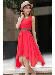 Pure Color Elegant Rivet Shoulders Sleeveless Asymmetric Hem Day Dress