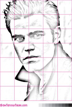 How to Draw Paul Wesley Using a Grid: This grid image will help you to ...