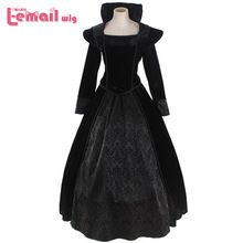 Custom-made Western style Black Lolita Gothic Punk Dress Medieval Victorian Dress Queen Halloween Costumes(China (Mainland))