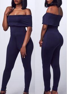 Off the Shoulder Navy Blue Skinny Jumpsuit on sale only US$23.44 now, buy cheap Off the Shoulder Navy Blue Skinny Jumpsuit at lulugal.com