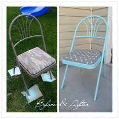 Find folding chairs at DI, Goodwill or any thrift store and spray paint and recover the cushion with new fabric if there is a cushion. Fabric - gray with off white polka dots; hobby lobby. Paint - krylon ocean sea breeze