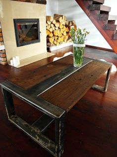 Industrial vintage style coffee table, made from reclaimed wood and steel thats…