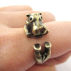 Realistic Hippo Hippopotamus Shaped Animal Wrap Ring in Brass | US Size 6 to 9 from DOTOLY the Animal Themed Jewelry and Gift Store. Saved to my life