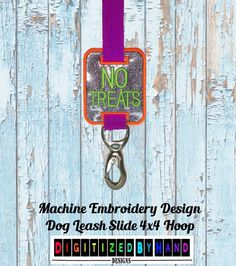In the Hoop Dog Leash Slide  Marine Vinyl Dog by DigitizedByHand