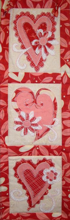Heart Trio Laser Cut Kit - at Quilting by the Bay.  I love that the applique pieces come with fusable backing already attached.