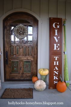 Hollyhocks & Honeybees- charming signage for the front porch