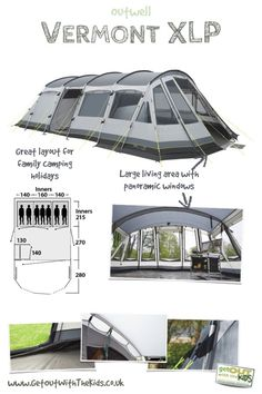 The Outwell Vermont XLP is a massive family tent. With 3 bedrooms and a massive living space, this is ideal for those family camping holidays. Best Family Camping Tents, Jeep Camping, Family Tent, Camping Glamping, Camping Survival, Camping Life, Outdoor Camping, Camping Hacks, Camping Stuff