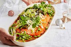 Serve up Karen Martini's salmon for a special occasion - it combines fresh greens with authentic Asian flavour Fish Recipes, Seafood Recipes, Recipies, Karen Martini Recipes, Baked Fish, Fresh Green, Served Up, Fish And Seafood, Main Meals